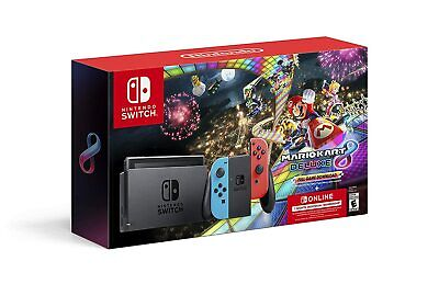BRAND NEW Nintendo Switch Mario Kart 8 Deluxe Bundle Red/Blue 32gb + 3 Months