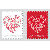 USPS Forever Stamps Heart Postage 2000 Stamps (100x20) 100 Sheets of 20 Stamps