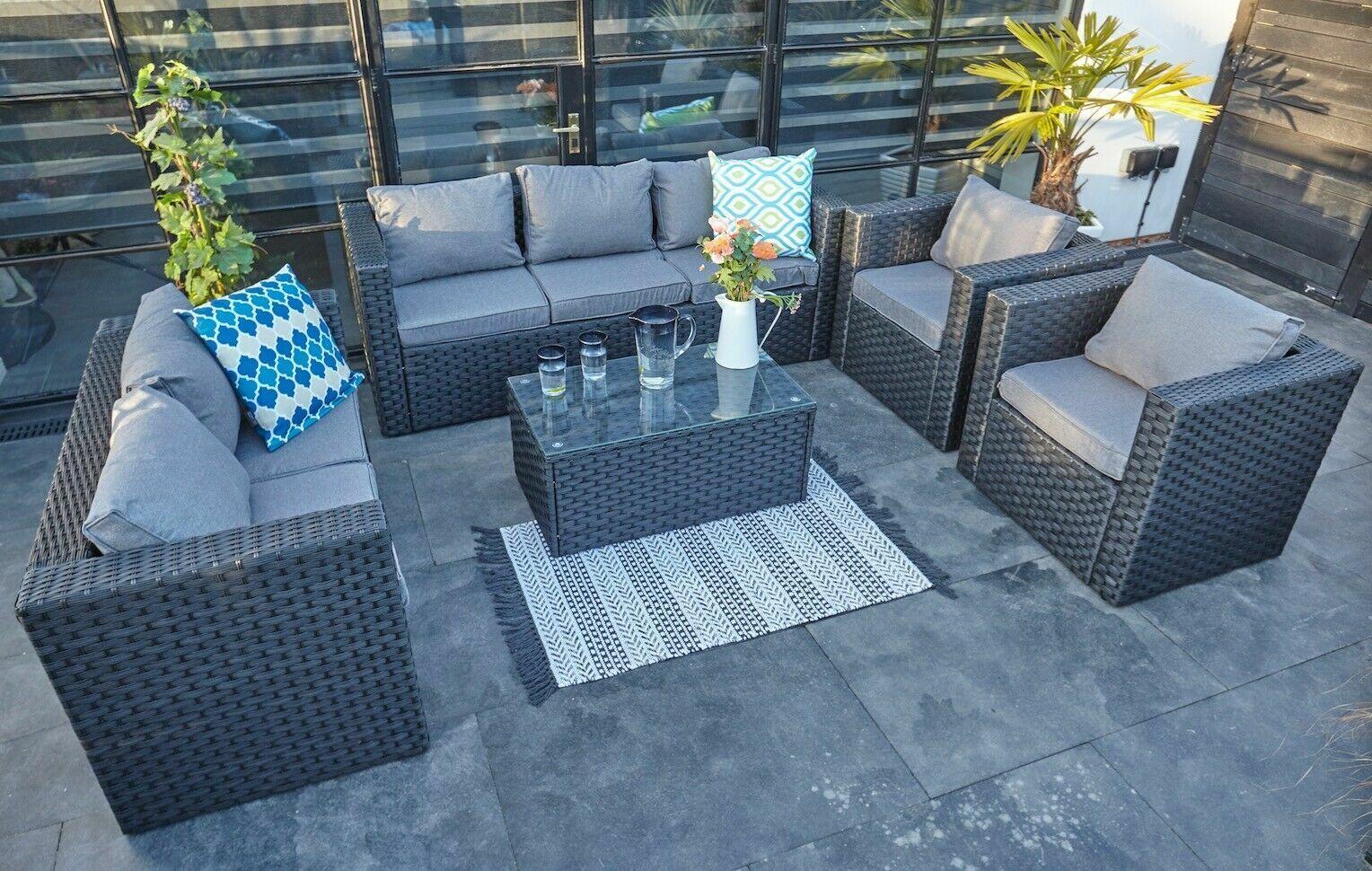 Garden Furniture - 7 SEATER RATTAN GARDEN FURNITURE SET SOFA TABLE  PATIO CONSERVATORY