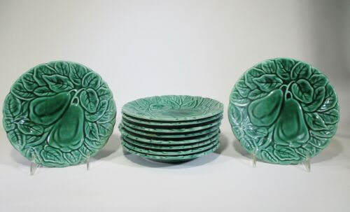 Antique Green Majolica Set of Ten Plates Two Pears