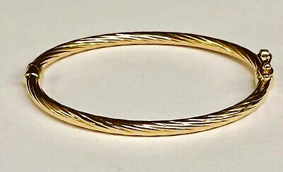 14k Yellow Gold Twisted Bangle - 14kt Yellow Gold Twisted Fluted Hinged Children's Bangle/Bracelet 5.5