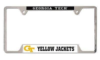 Georgia Tech Yellow Jackets Heavy Duty Chrome Metal License Plate Frame Georgia Tech Yellow Jackets Framed