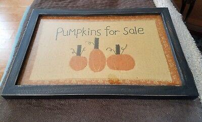 Primitives by Kathy Hand Stitched Large Pumpkins for Sale Framed Under Glass NWT - Halloween Frame Sale