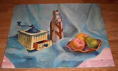 VINTAGE COFFEE GRINDER PEACHES PEAR FRUIT CACTUS SHABBY SOUTHWEST CHIC PAINTING