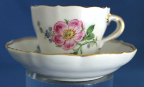 Meissen Demi Cup & Saucer Set  Pink Floral Marked With Crossed Swords, Germany