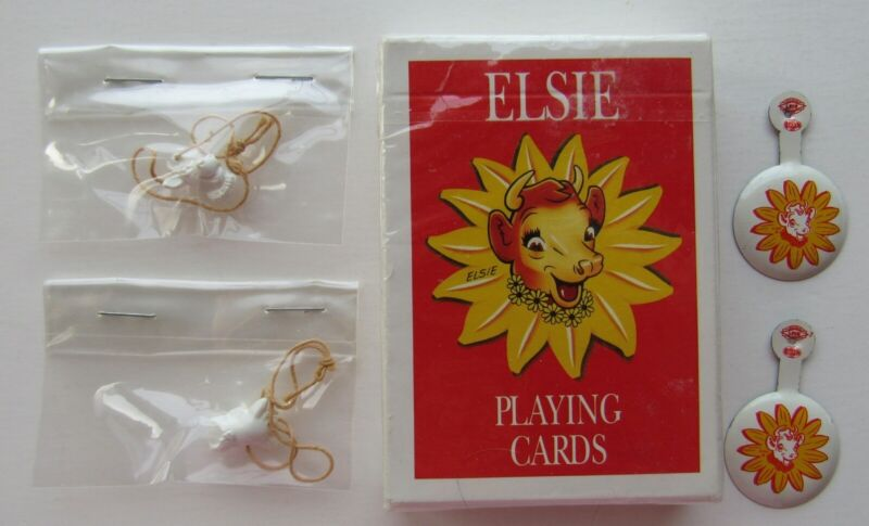 Elsie The Cow  4 Piece Lot  Playing Cards, Tab Pin Back, 2 Figural  Heads MIP