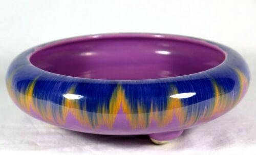 Antique Drip Glaze POTTERY BOWL Yellow Purple Blue Mauve Crocus Daffodil MIJ