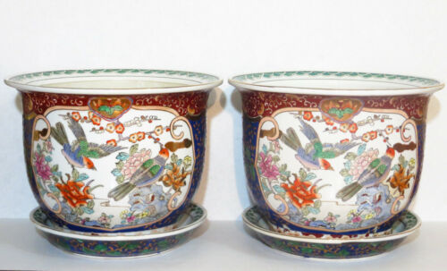 Antique Pair of Chinese Famille Rose Porcelain Planters