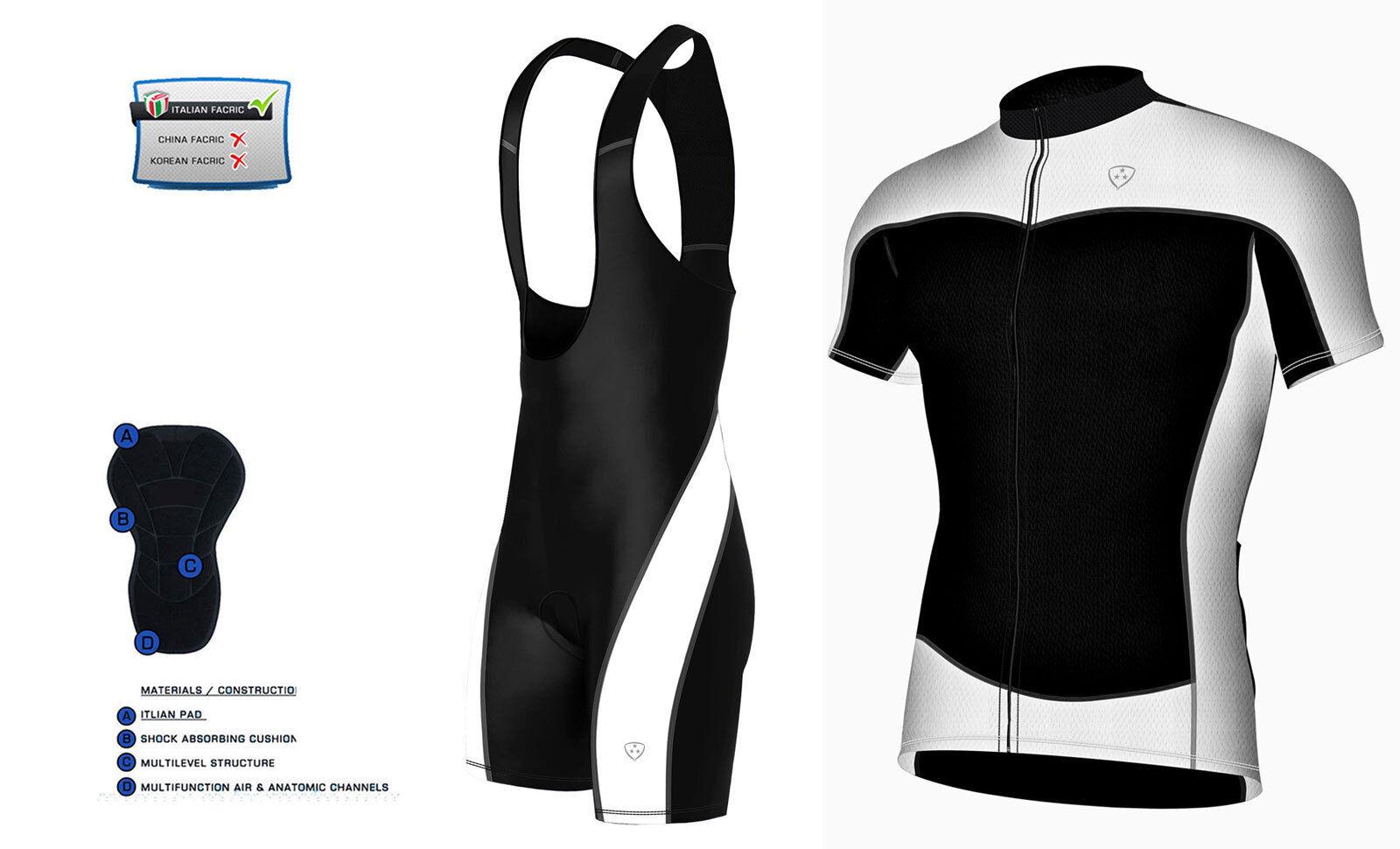 Maglia ciclismo Uomo Mezza manica racing bike + bavaglino Pantaloncini