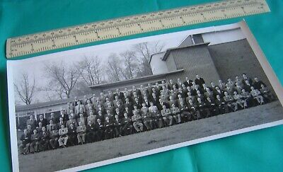 1950s Mens Suits & Sport Coats | 50s Suits & Blazers Photograph of Large Group of Workers Mostly Men in Suits Unknown Where or Who $5.20 AT vintagedancer.com