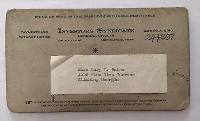 Vintage 1929-1937 Investors Syndicate Pass Book
