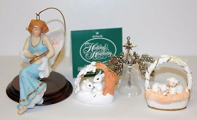 4 HALLMARK ORNAMENT LOT Angelic Minstrel,Holiday Heirloom,Christmas is Sharing,