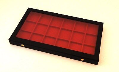 Clear View Acrylic Lid 18 Pocket Watch Display Case Storage Box With Red Liner
