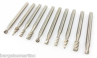 "10pc High Speed Steel Burr Bit Set Wood Carving Rasps Rotary Tool 1/8"" Shank Bur"