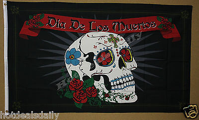 DIA DE LOS MUERTOS flag 3'x5' banner DAY OF THE DEAD HOLIDAY DECORATED SKULL ](Dia De Los Muertos Flags)