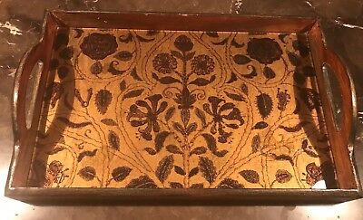 VINTAGE  Wood Carved Tray
