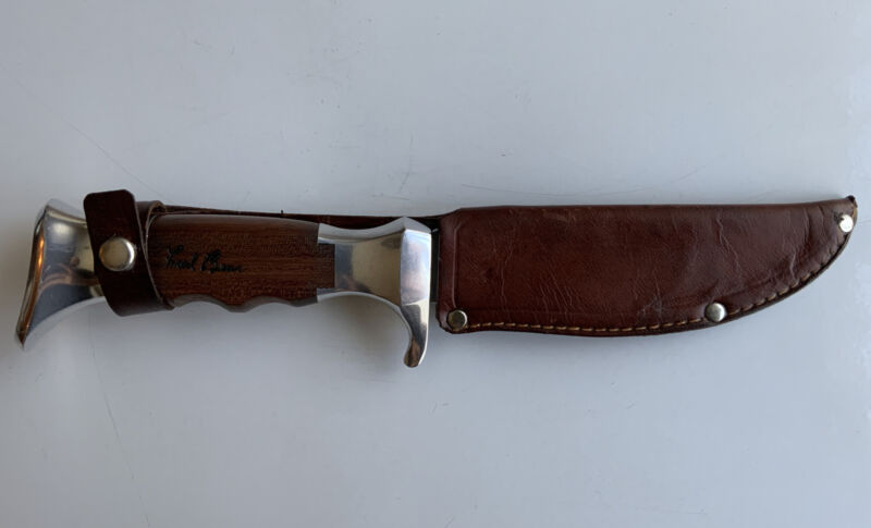 Vintage Fred Bear Archery Hunting Knife & Sheath by Olsen, Germany Recurve Bow