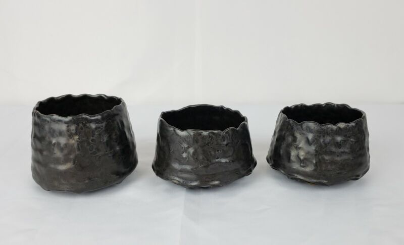 Set Of Three Vintage Japanese Style Studio Pottery Chawan Yunomi Tea Bowls...