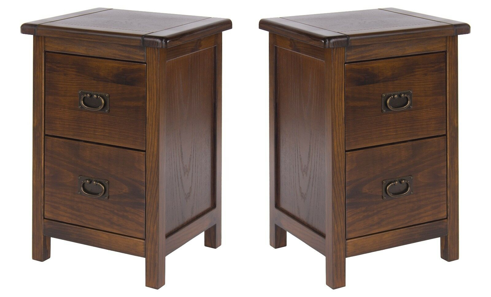 Pair Large Bedside Cabinet Table Dark Wood Baltia Solid Bedroom Furniture