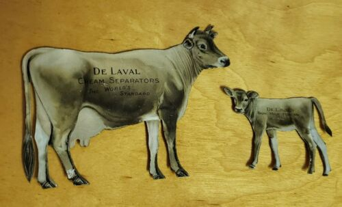 Vtg Antique De Laval Cream Separators Tin Litho COW & CALF Die Cut Advertising