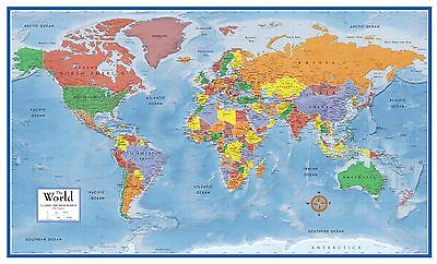 World Classic Premier Wall Map Mural Large 3D Relief Decoration Art Poster (World Relief Map)