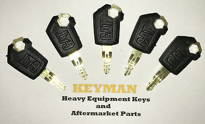 5 Caterpillar Cat Heavy Equipment Ignition Keys 5p8500 New Style Logo