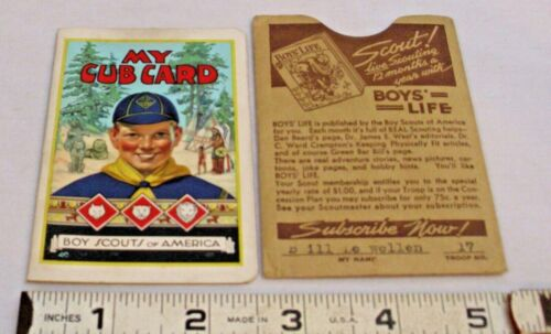 BOY SCOUTS 1937 MY CUB CARD MEMBERSHIP CARD WITH SLEEVE