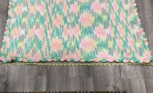 Baby Blanket Knit Woven Green Yellow Pink Lightly Used 38.5 X 39  - $22.00