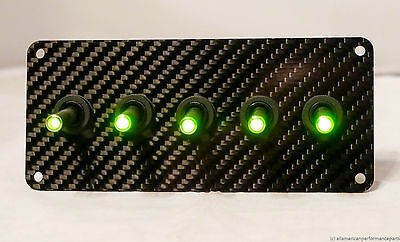 Authentic Carbon Fiber Panel W Led Toggle Switches - Green