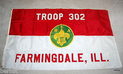 EARLY BOY SCOUT-3' x 5' TROOP 302 FLAG - FARMINGDALE, ILL