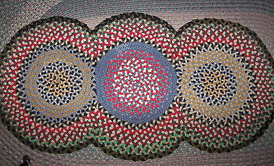 "Vintage Antique Hand Handmade Folk Art 3 Circle Braided Rug 30"" X 59"""
