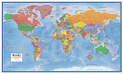 24x36 World Classic Premier 3D Wall Map - large poster wall mural art decor  (World Classic Wall Map)