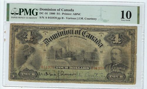 DC-16 1900 $4 FOUR DOLLARS DOMINION OF CANADA BANKNOTE PMG 10