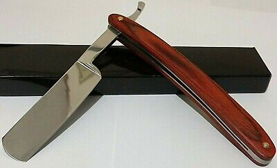 BARBERSHOP RED WOOD STRAIGHT RAZOR POCKET KNIFE W/ HD S.S. LINERS ENGRAVABLE !!!