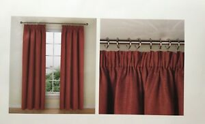 "M & S Pencil Pleat Lined Bantry Weave Terracotta Curtains 86"" X 90""New RRP £119"