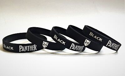 5 Pack Black panther silicone wristband - Baller ID Bracelet - Party Favor