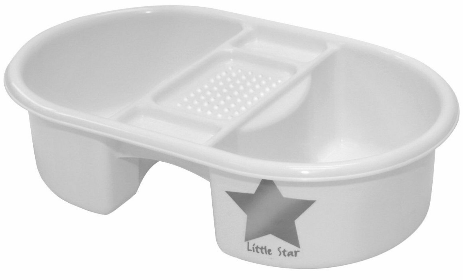 Strata Top And Tail Bowl Silver Lining Star Design Sturdy Plastic Baby Bath UK