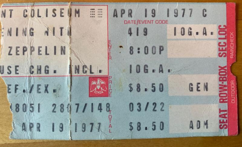 1977 LED ZEPPELIN Riverfront Coliseum Cincinnati OH CONCERT TICKET STUB 4/19/77