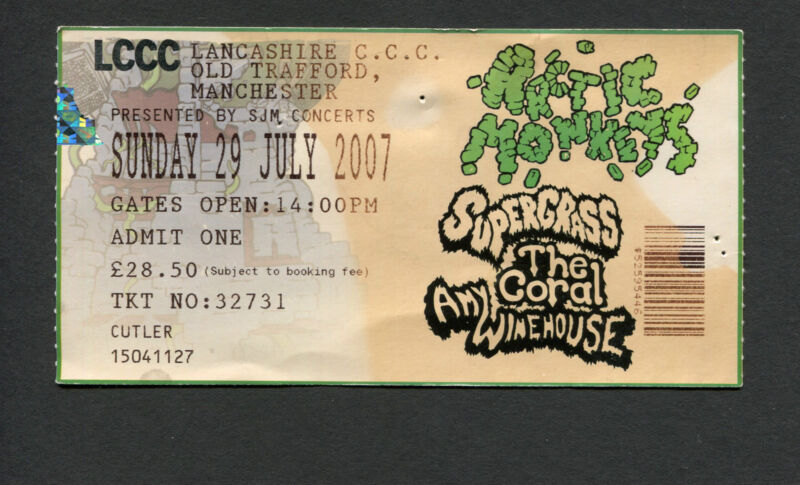 2007 Amy Winehouse Arctic Monkeys Coral concert ticket Manchester Back To Black
