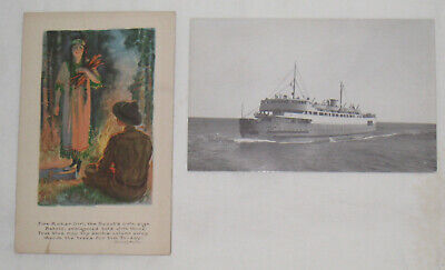 """2 SCARCE 1907-30 """"BOY SCOUTS"""" POSTCARDS """"FIRE MAKER GIRL, THE SCOUT'S OWN SIGN…"""""""