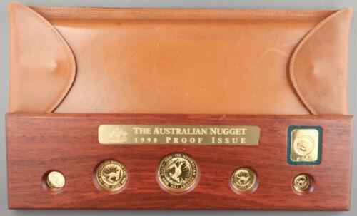 Australia 1990 Gold Nugget/Kangaroo 1.9 Oz Gold 5 Coin GEM Proof Set +Mint Case