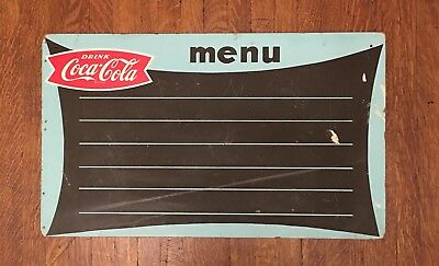 Rare Coca Cola Menu Chalkboard Sign Antique VTG 1950's Coke Soda Made In USA