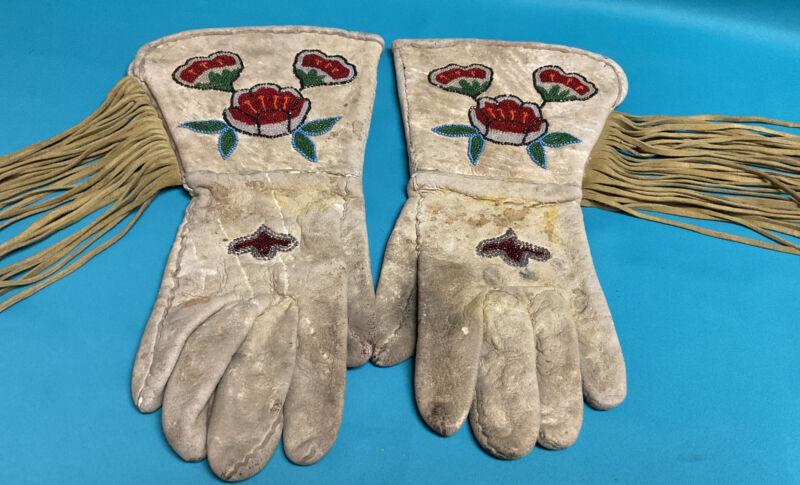 ANTIQUE Vintage Native American Indian Red Flower Beaded Gauntlet Gloves