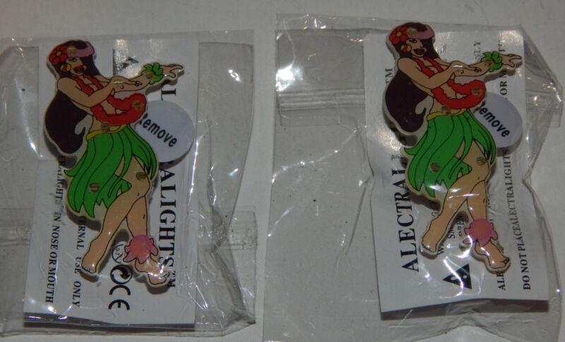 (2) Hawaiian Hula Girl Lighted Flashing Pin Pinback Button Lapel