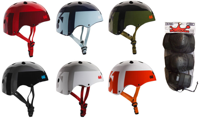 661 Dirt Lid Skateboard BMX Helmet CPSC Certified with Knee Elbow Wrist Pads