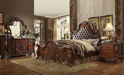 Cherry Oak Bedroom Set - Acme Furniture Dresden Cherry Oak Queen Upholstered Mansion 6 Piece Bedroom Set