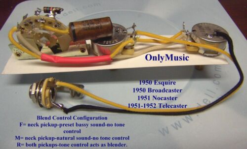 COMPATIBLE TO FENDER BROADCASTER NOCASTER 1950 1952 REPRO VINTAGE WIRING HARNESS