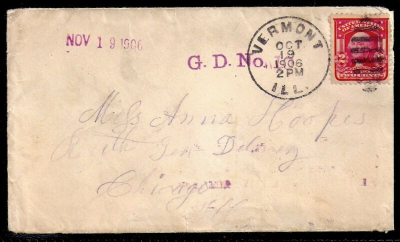 1906 Vermont, Illinois to Chicago - Purple General Delivery Machine Cancel