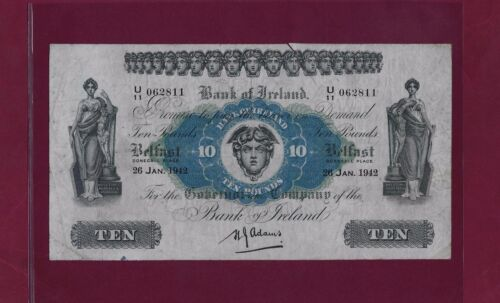 Ireland Northern BANK OF IRELAND 10 Pounds 1942 P-53 VF  RARE