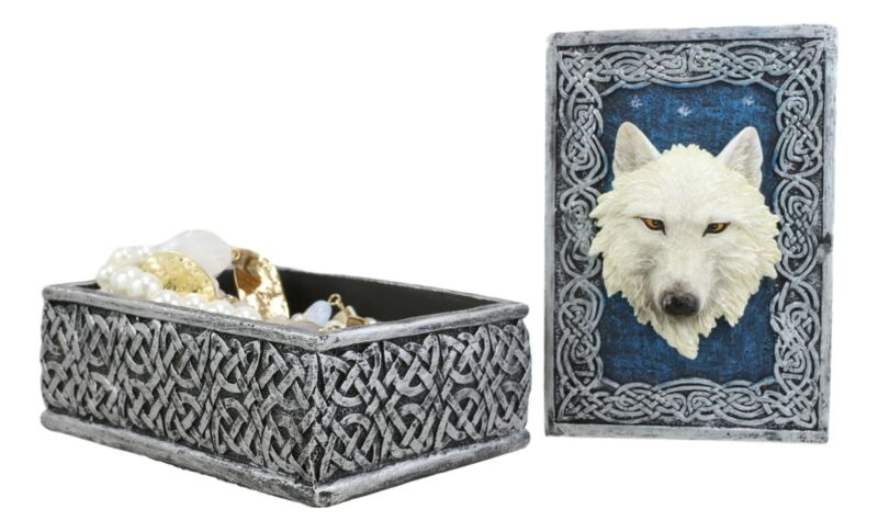 Celtic Knots Blue Starry Night White Wolf Decorative Jewelry Stash Box Figurine